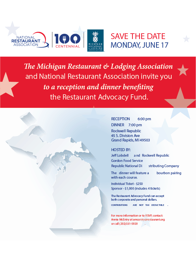 Invitation to Reception and Dinner benefiting Restaurant Advocacy Fund